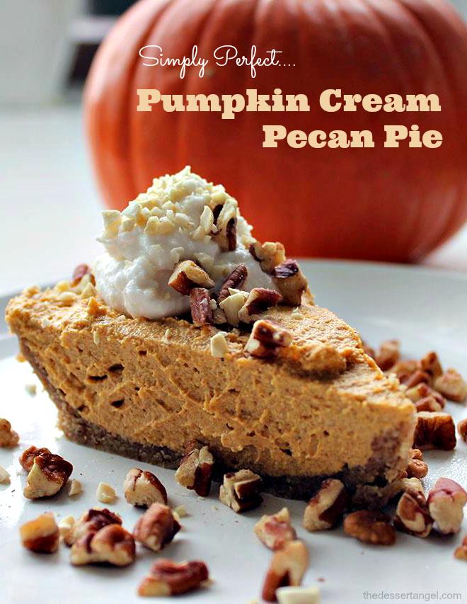 Pumpkin Cream Pecan Pie Recipe | TheDessertAngel.com